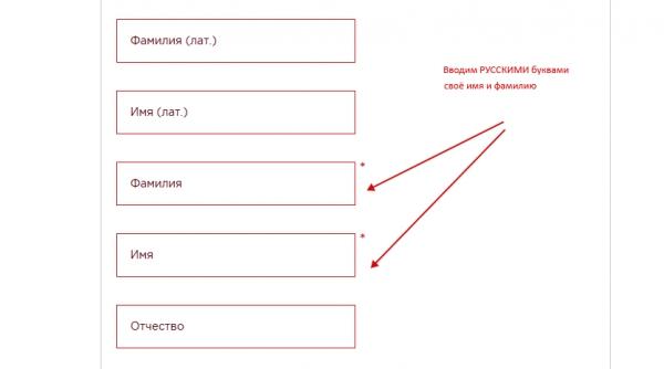 ФМС. Проверка паспорта гражданина СНГ. Ввод имени и фамилии.