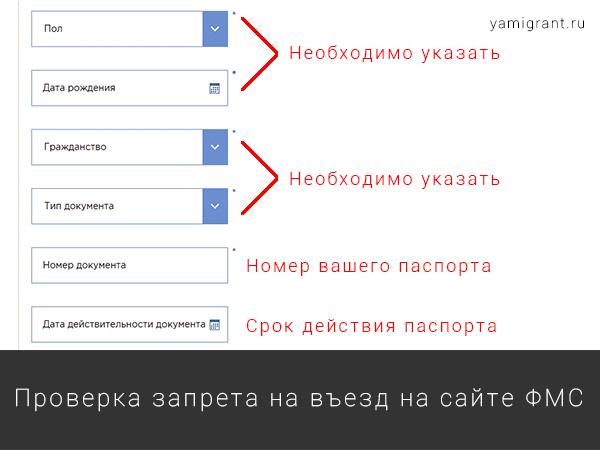 Проверка запрета на въезд в Россию