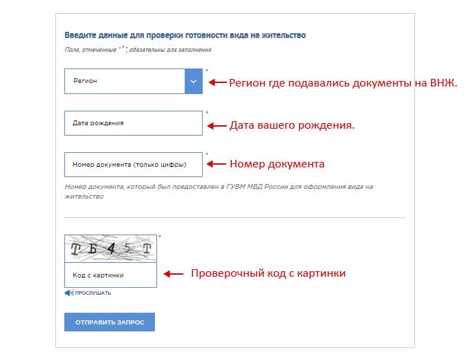 Ввод данных для проверки ВНЖ на сайте ГУВМ МВД РФ.