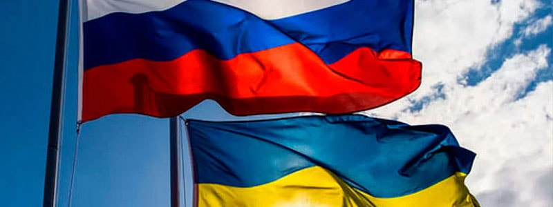 Флаг России и Украины. Соглашение между странами.
